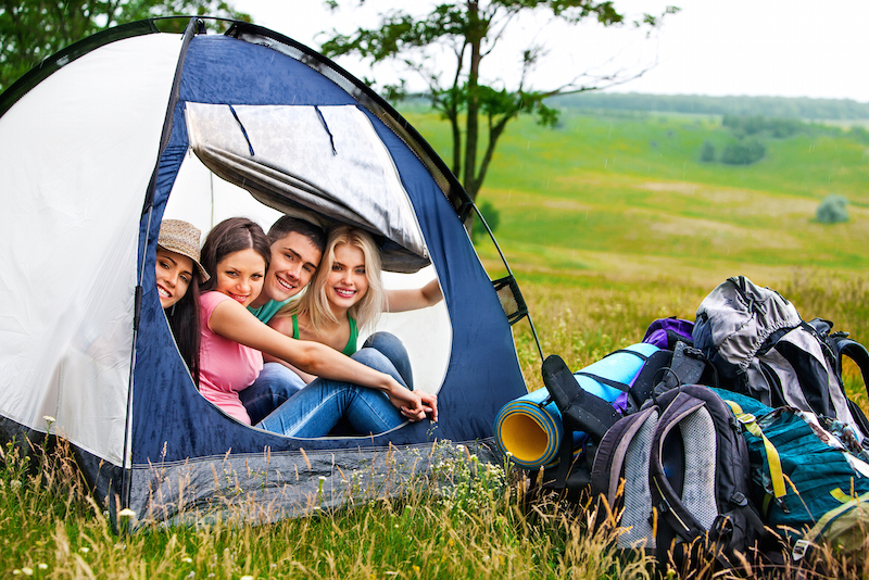 Camping tent with friends