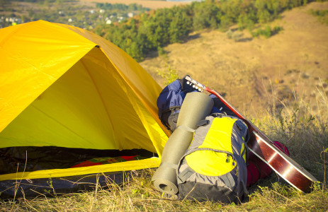 Camping Tent On The Hill.