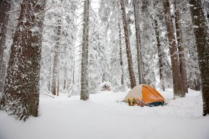 Camping during winter hiking