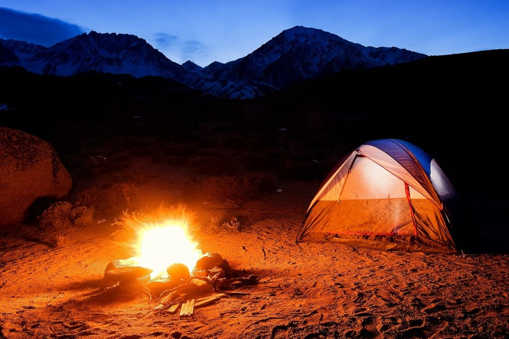 C&ing In The Mountains C& Fire and Tent at Sunset & Guidelines On Outdoor Camping And Adventure In The USA - Family Tent