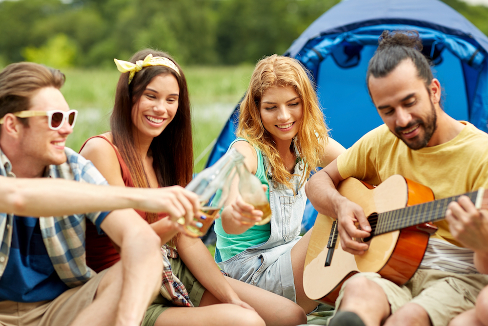 Camping with guitar, outdoor activity