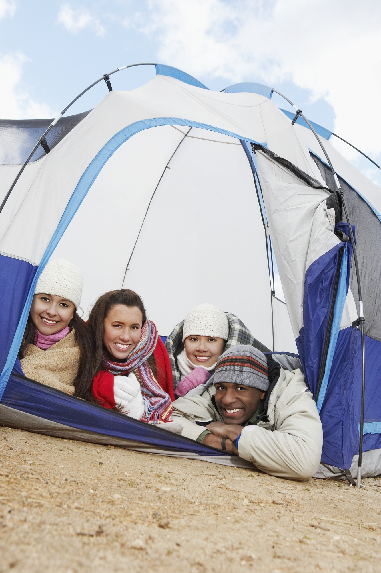 Group of friends inside The pros and cons instant tent