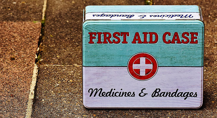 first aid case for medicines and bandages
