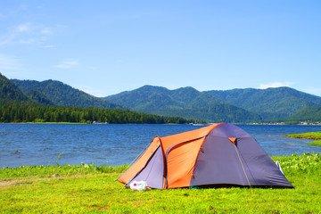 waterproof tent beside the lake