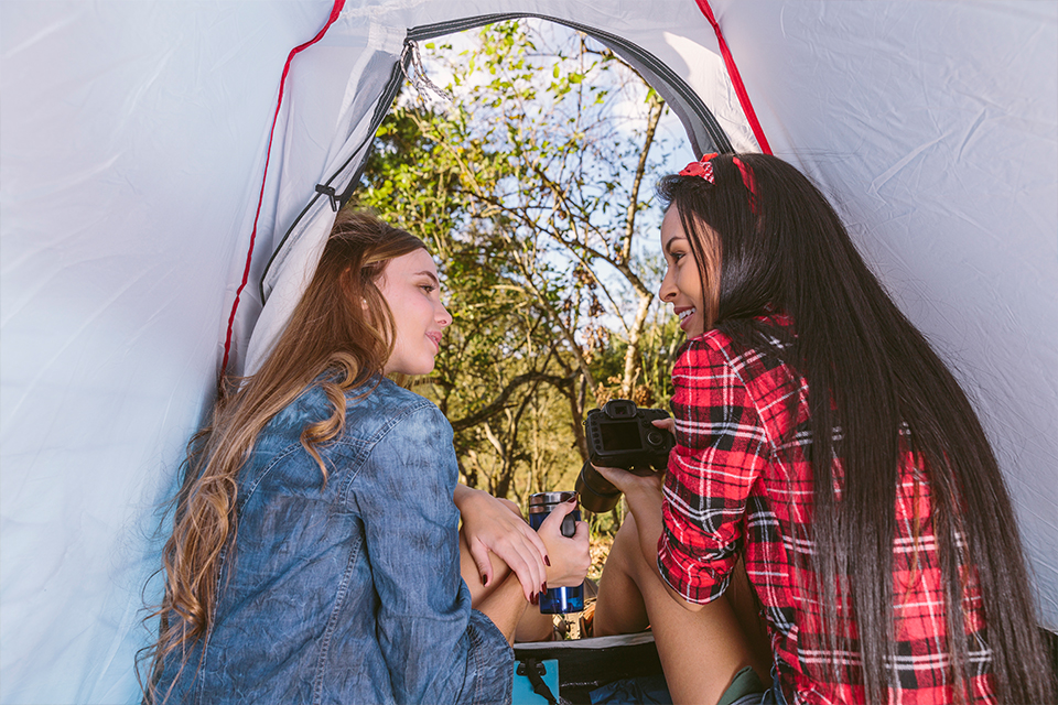 ladies inside a tent