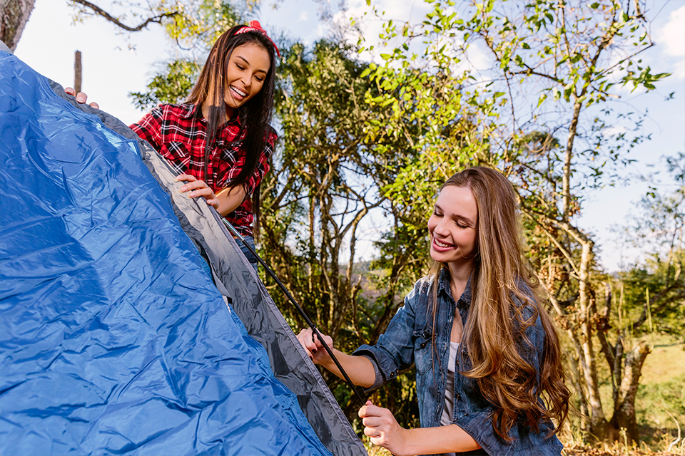 ladies Building a tent
