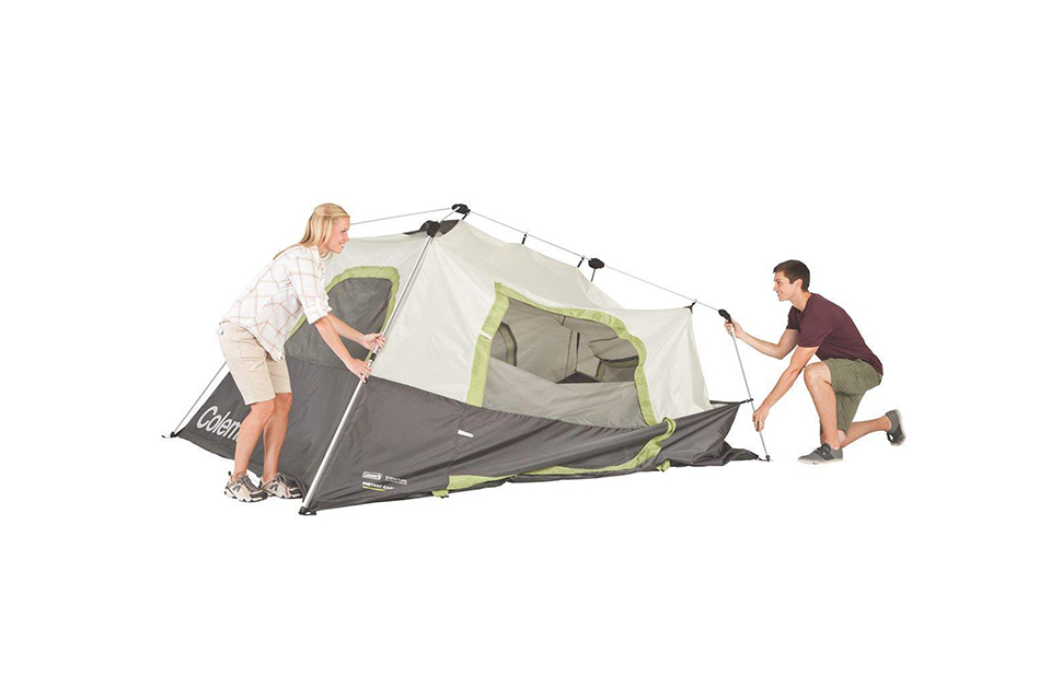 setting up coleman tent