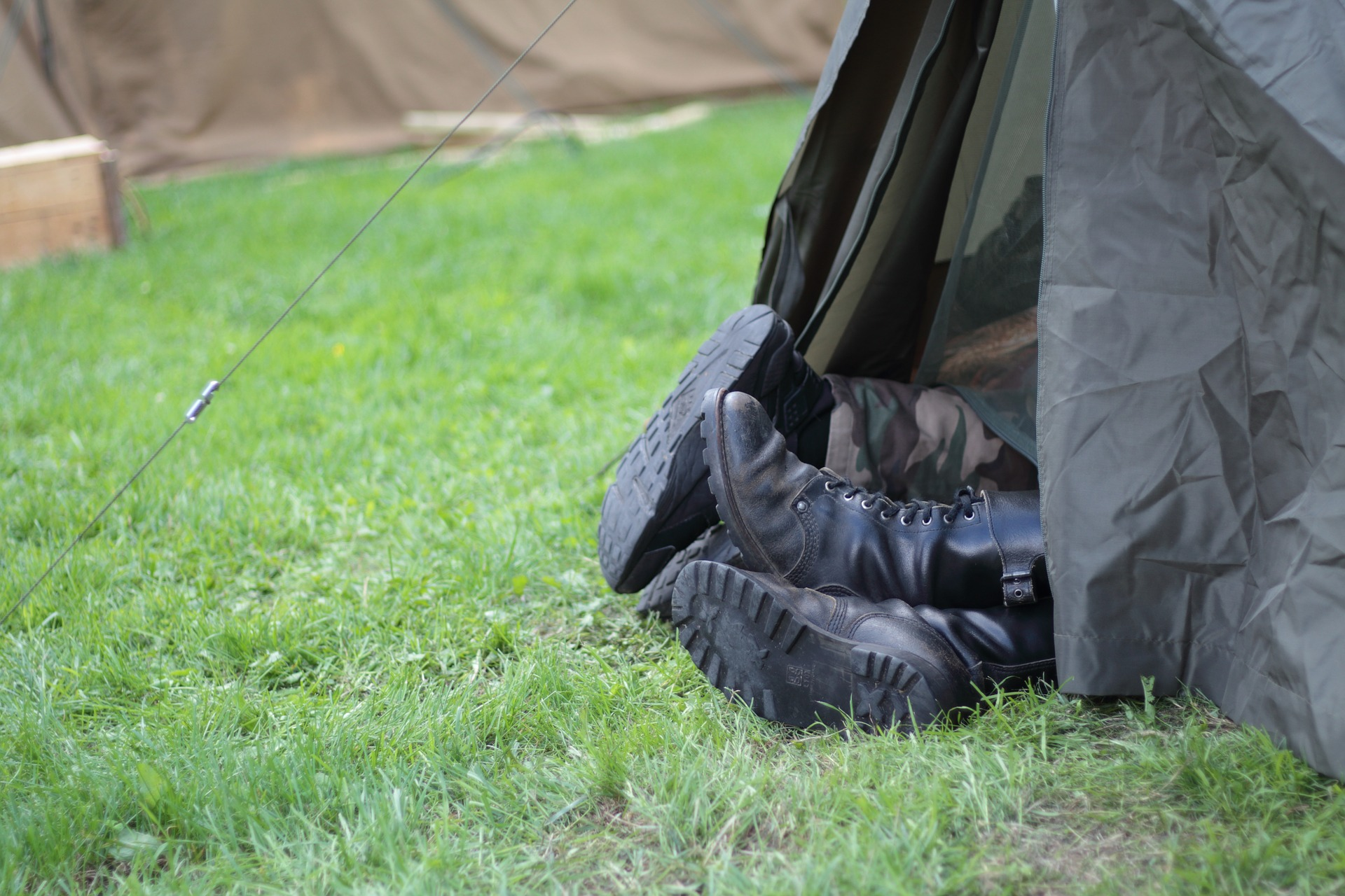 Boots in a Camping Tent
