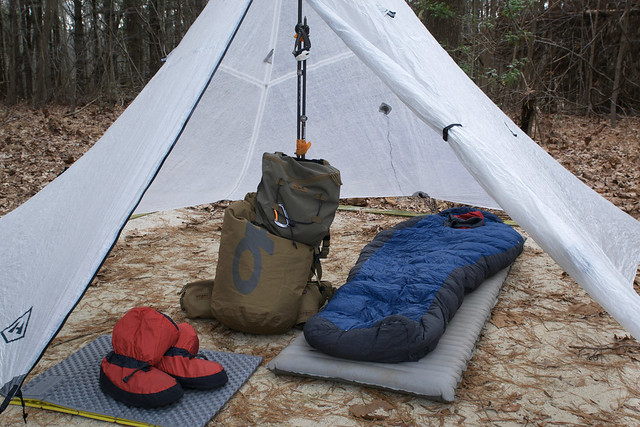 Sleeping pad and some other camping gear inside a tent