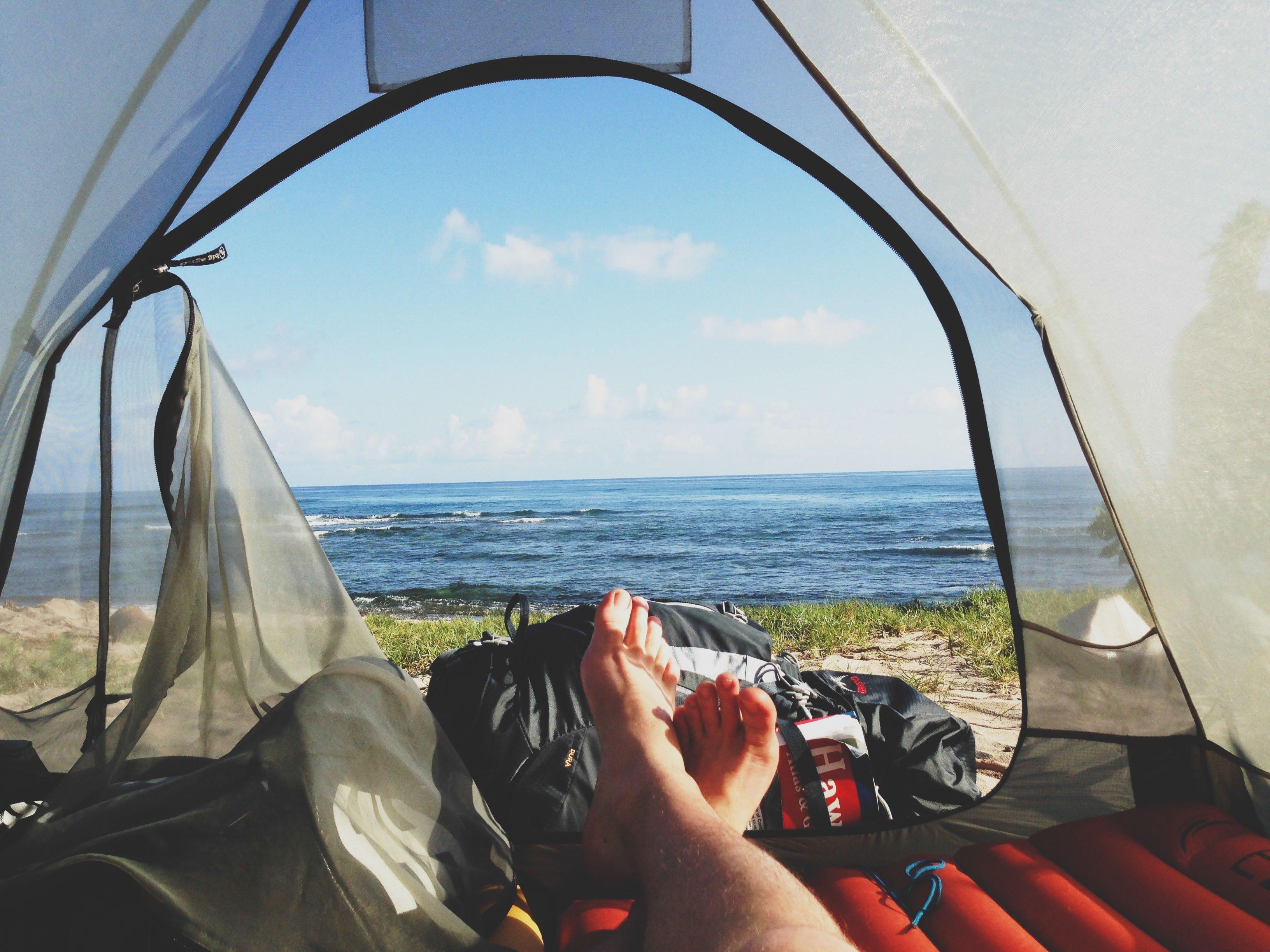 Guy's Feet inside a tent