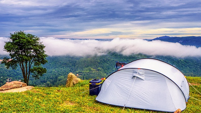 one of the best instant tents set up on top of a mountain