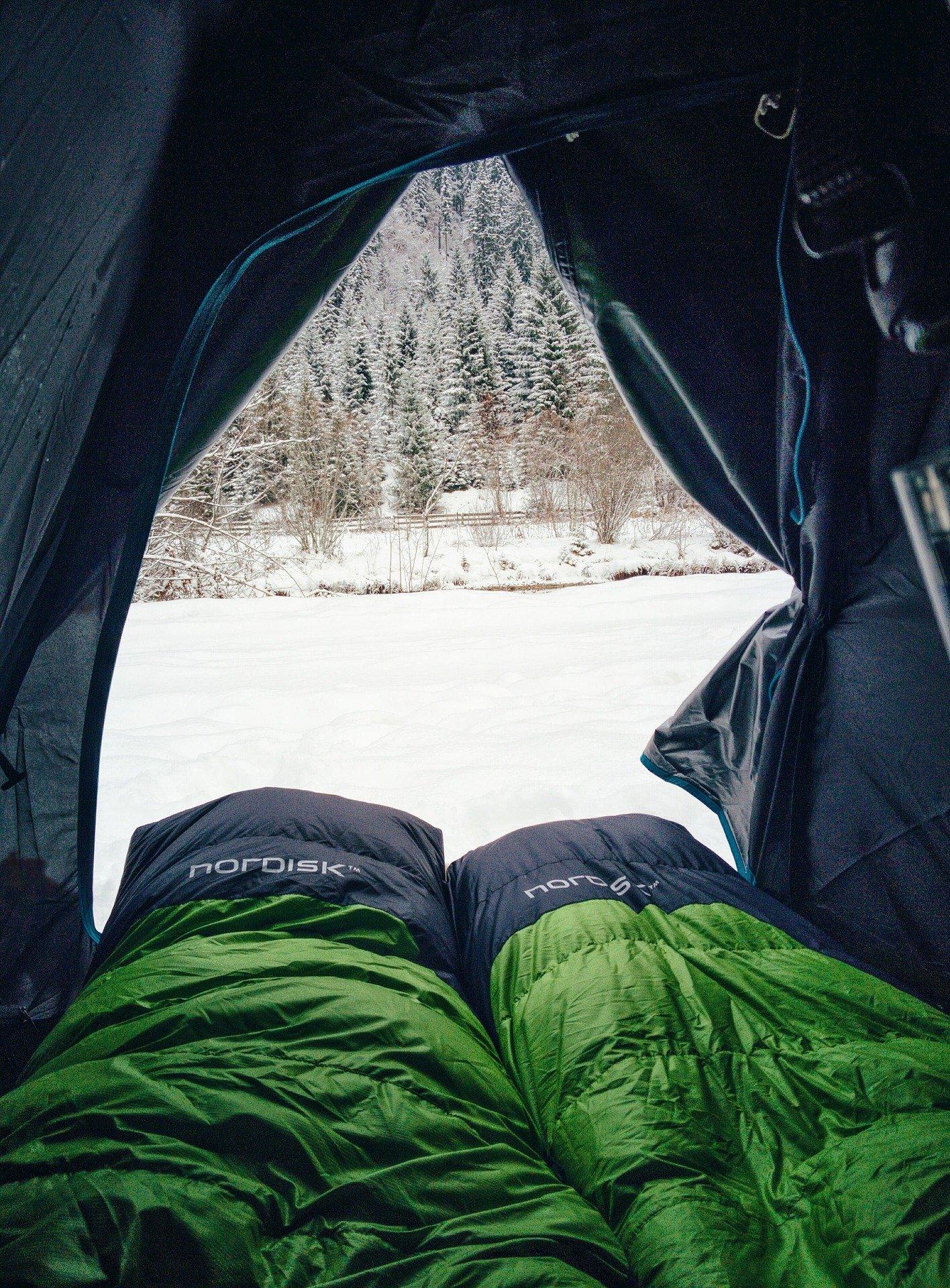Lightweight Sleeping Bag Inside a Camping Tent