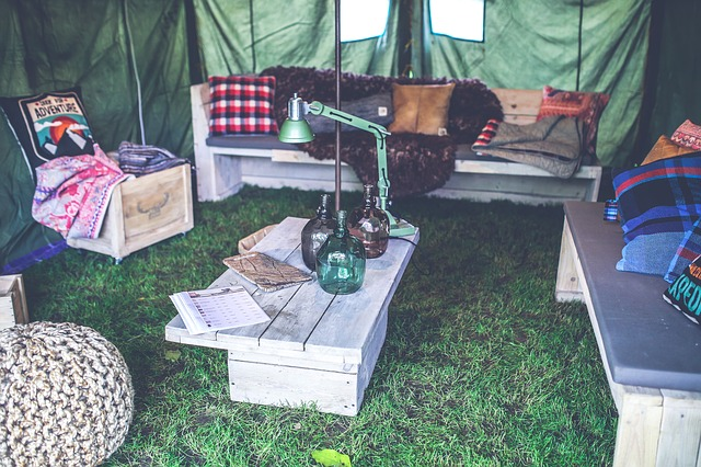 cozy sitting area under a canopy tent